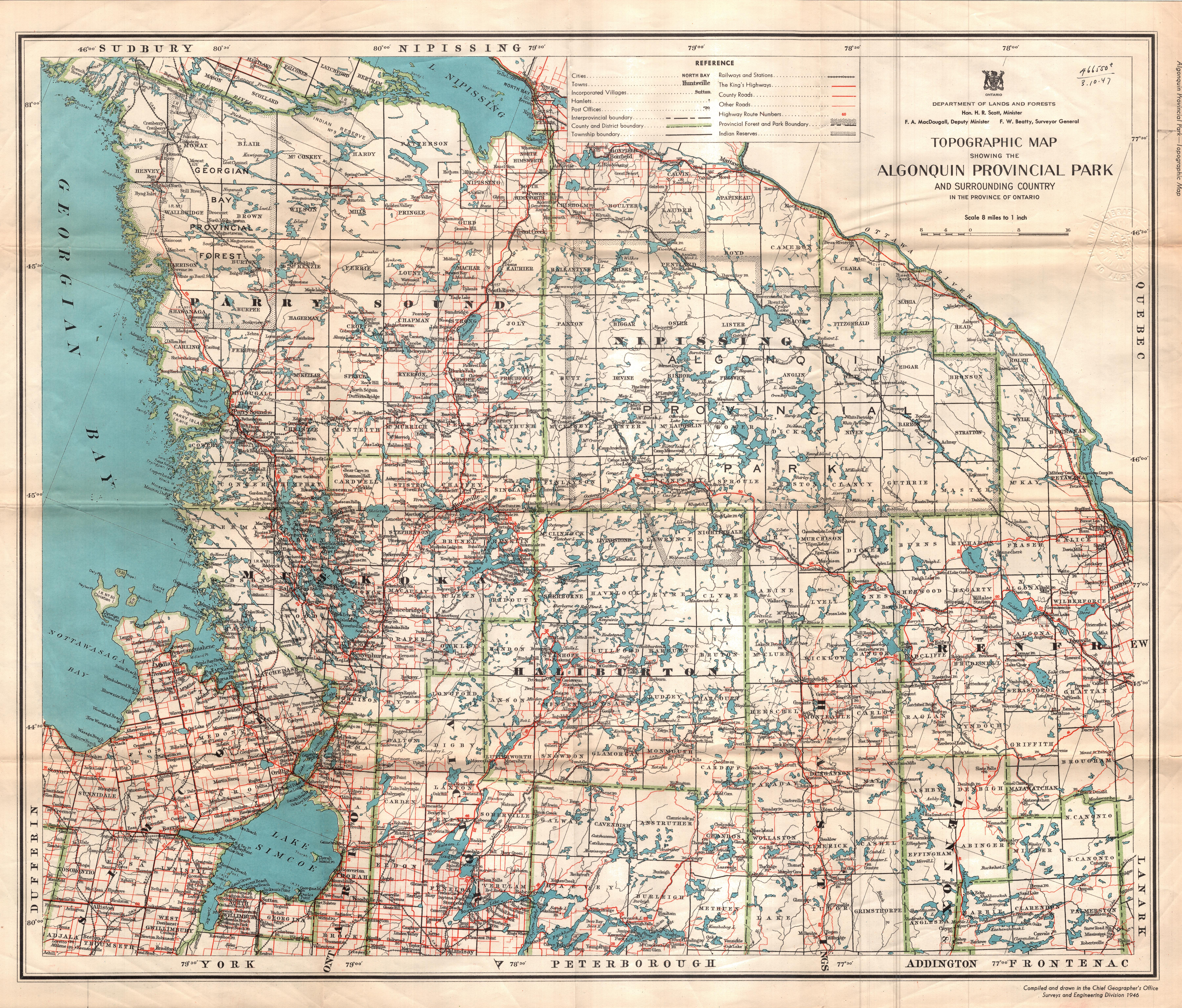 Ontario Topographic Map.Topographic Map Showing The Algonquin Provincial Park And