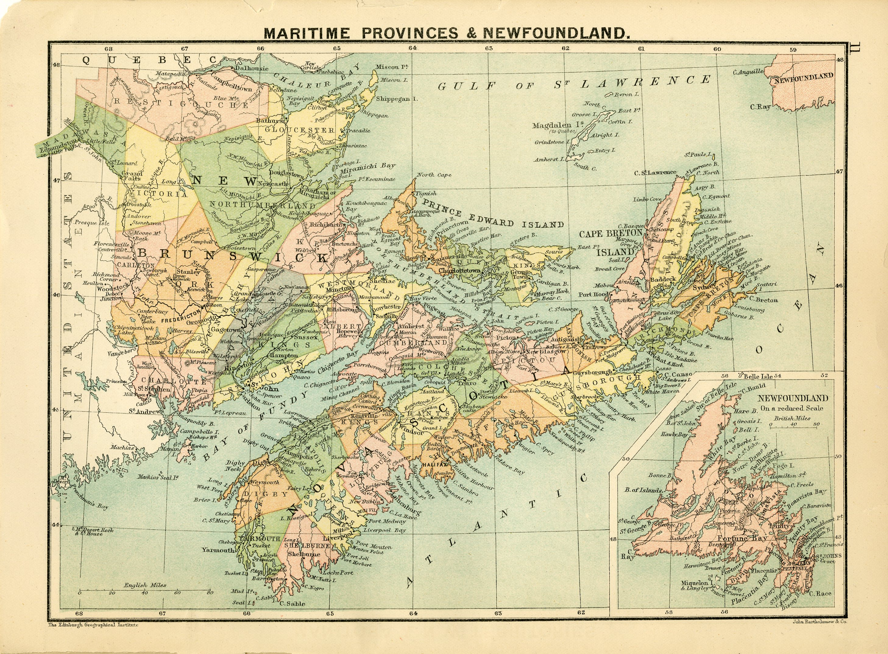 The royal canadian world atlas a series of full coloured maps with map maritime provinces and newfoundland gumiabroncs Choice Image