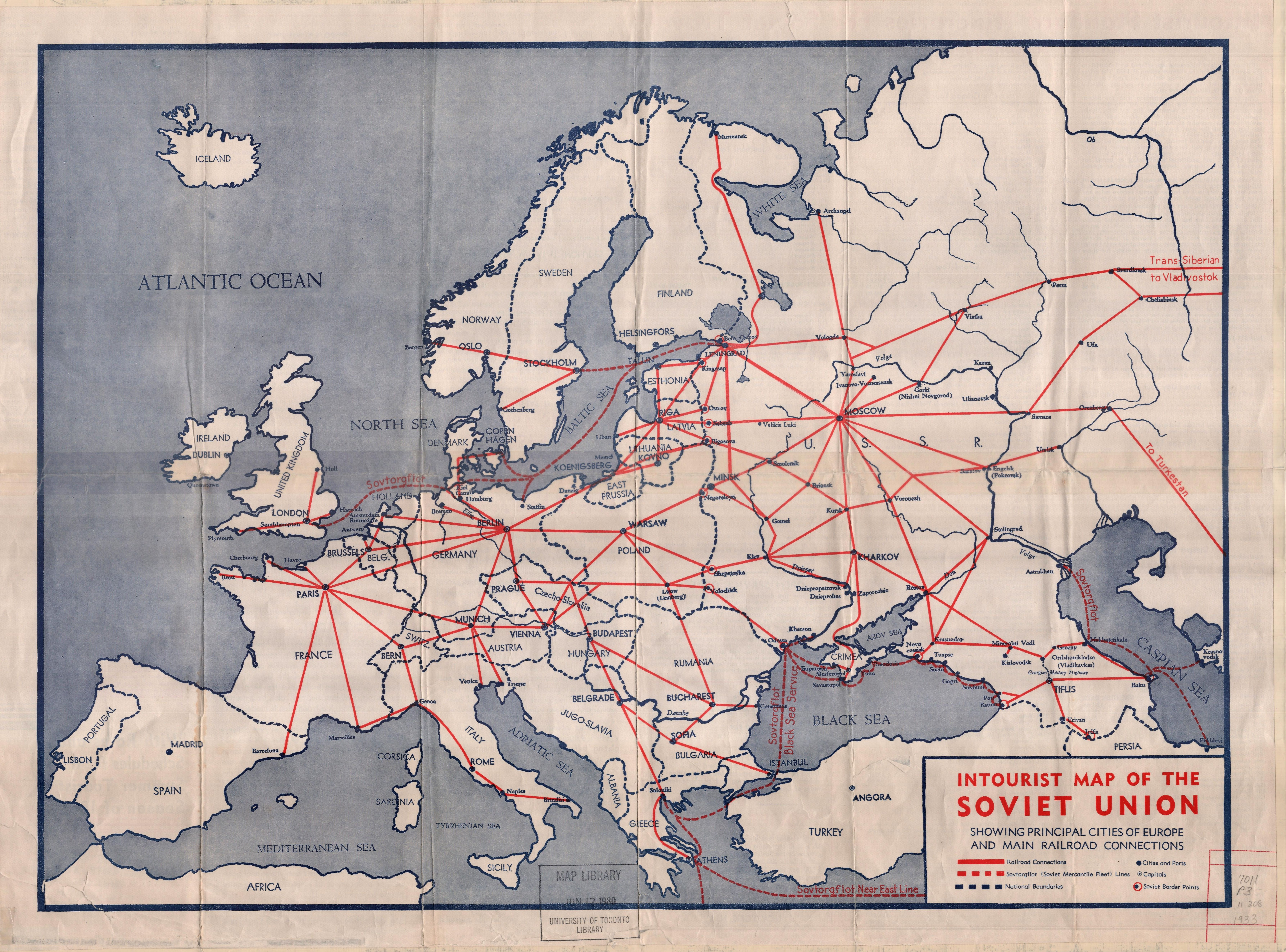 1933 Map Of Europe.Intourist Map Of The Soviet Union Showing Principal Cities Of Europe