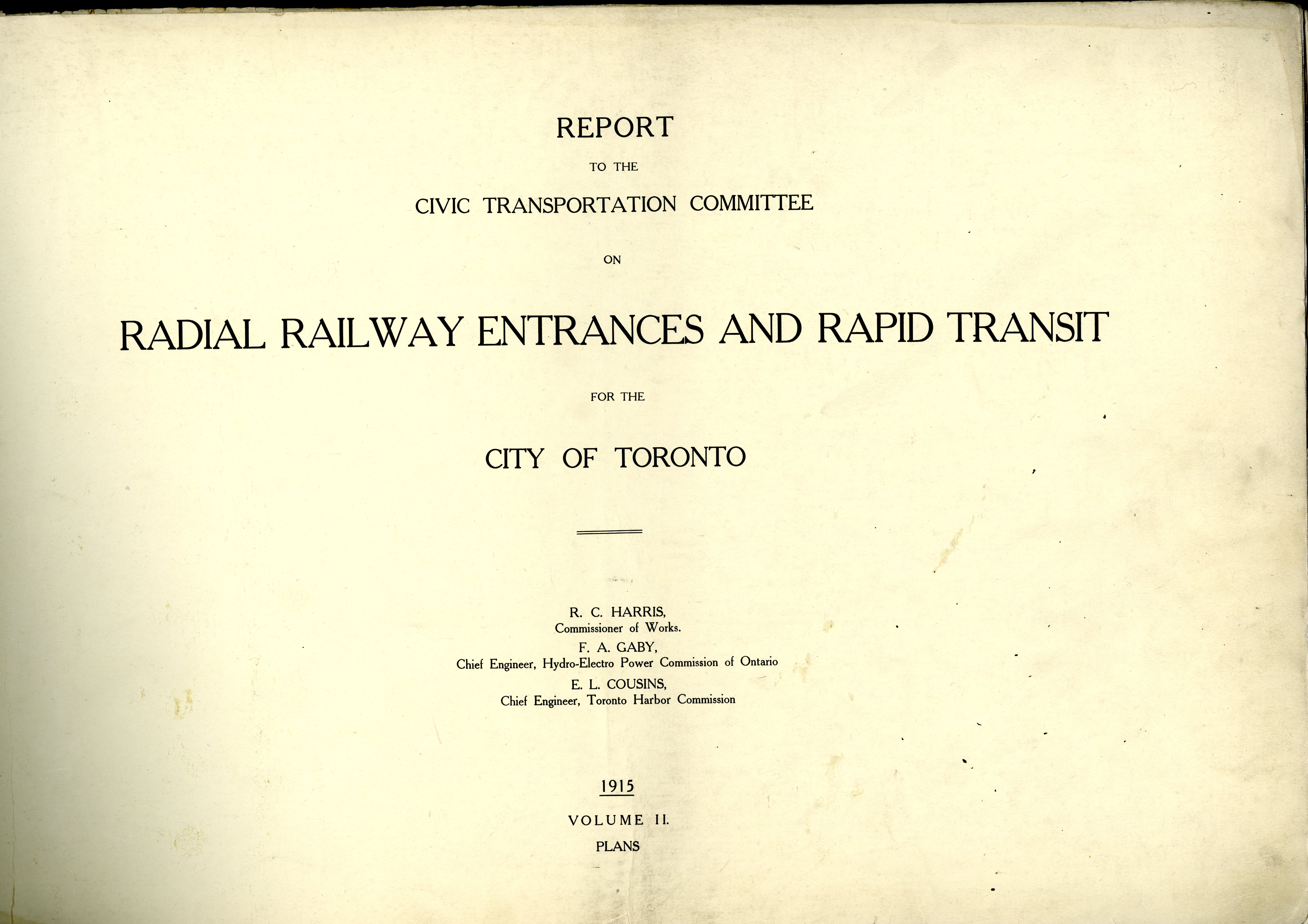 report to the civic transportation committee on radial railway radial railway entrances and rapid transit title page 2