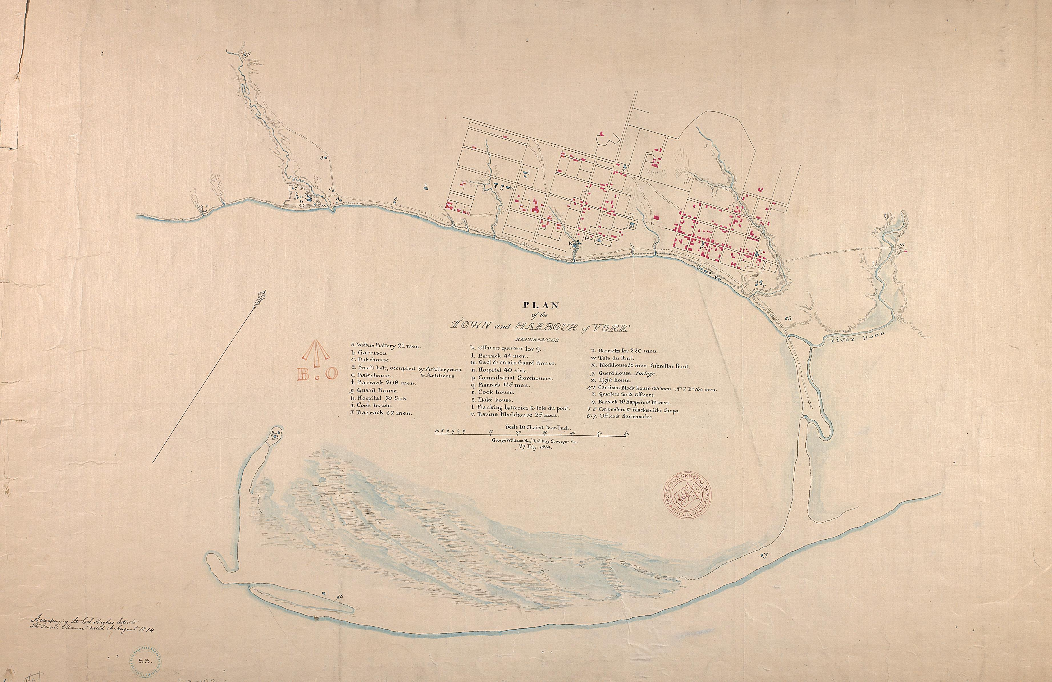 Map Of York Canada.Historical Maps Of Toronto 1813 Williams Sketch Of The Ground In