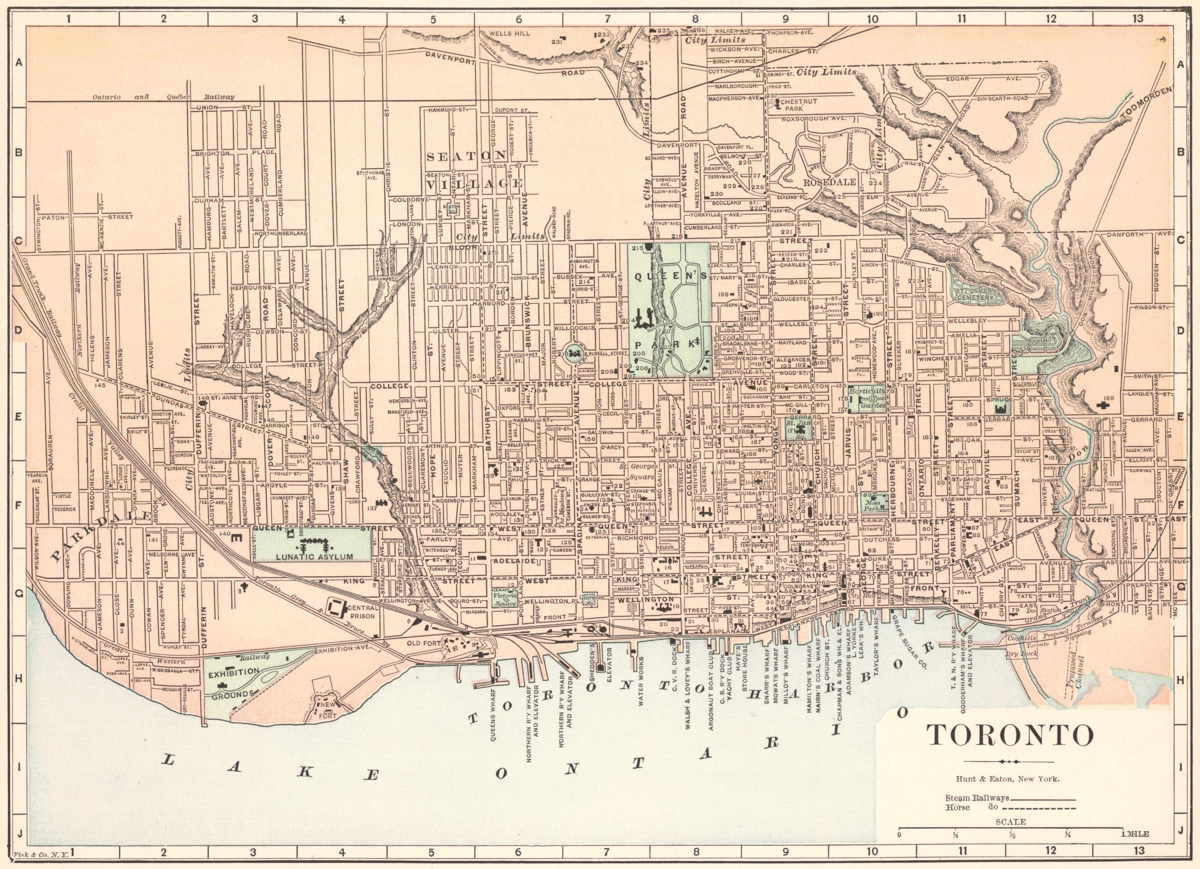 Historical Maps of Toronto: 1893 Fisk and Co. Map of Toronto