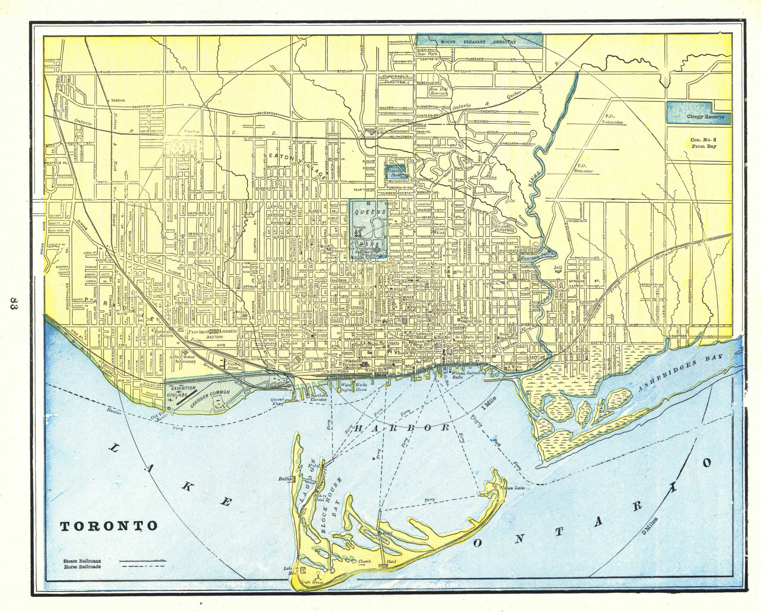 Maps Toronto.Historical Maps Of Toronto 1893 Fisk And Co Map Of Toronto