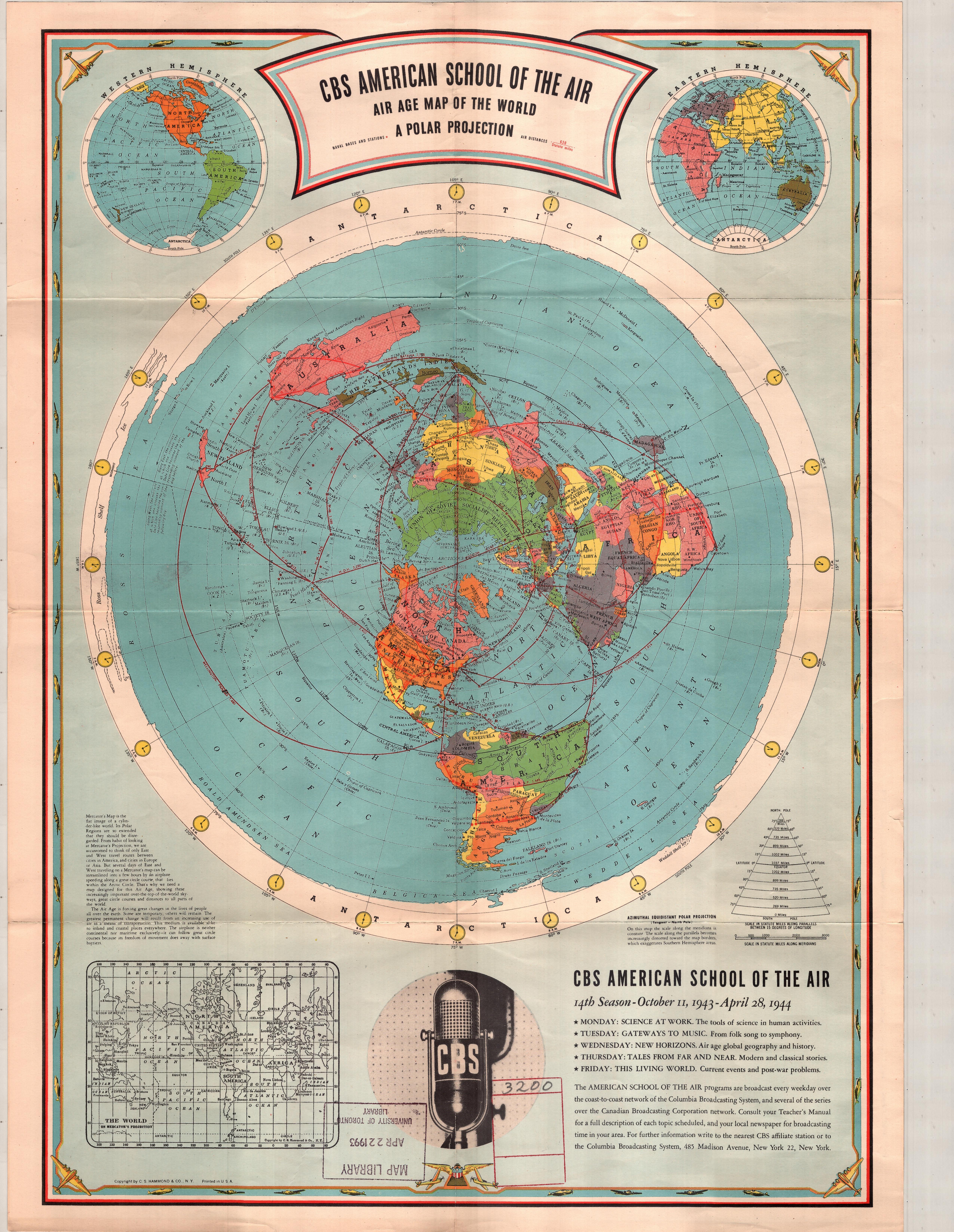 1944 cbs american school of the air polar projection world map 1944 cbs american school of the air polar projection world map 5102x6592 gumiabroncs Gallery